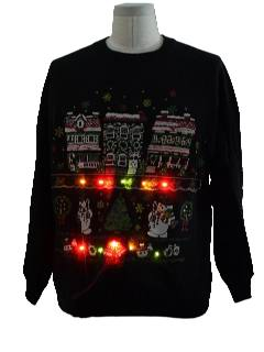 1980's Unisex Ugly Christmas Multicolored Light-Up Christmas Sweatshirt