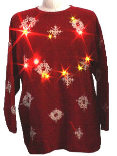 1980's Unisex Ugly Christmas Multicolored Light-Up Christmas Sweater