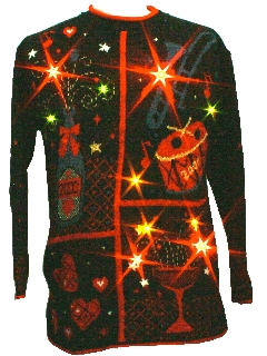 1990's Unisex Ugly After- Christmas Golden Amber Light-Up Millenium New Years Eve Sweater