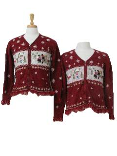 1980's Womens Matching Mother and Daughter Ugly Christmas Sweaters