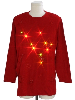 1980's Womens Ugly Christmas Multicolored Amber Light-Up Christmas Cocktail Sweater