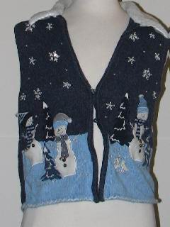 1980's Womens Discount Tired and Ugly Christmas Sweater Vest