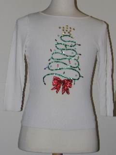 1980's Womens/Childs Tired and Ugly Discount Flawed Ugly Christmas Sweater Shirt