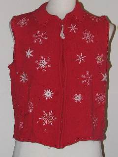 1980's Womens Tired and Ugly Discount Flawed Ugly Christmas Sweater Vest