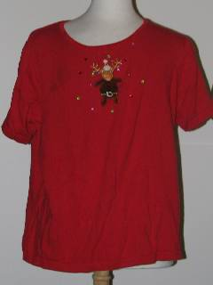 1980's Womens Tired and Ugly Discount Flawed Short Sleeve Ugly Christmas Sweater