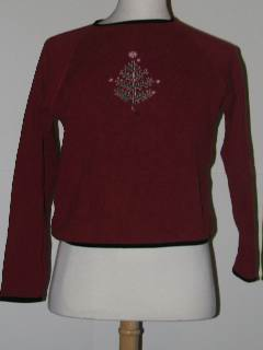 1980's Womens Minimalist Tired and Ugly Discount Flawed Ugly Christmas Sweater