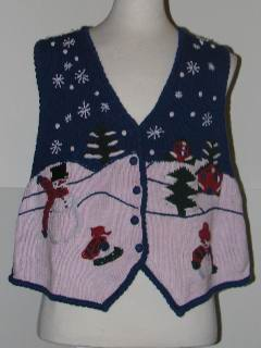 1980's Unisex Tired and Ugly Discount Flawed Ugly Christmas Vest
