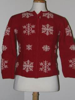 1980's Womens or Girls Tired and Ugly Discount Flawed Ugly Christmas Sweater