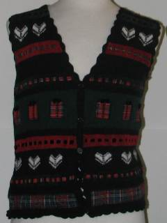 1980's Womens Tired and Ugly Discount Flawed Womens Ugly Christmas Sweater Vest