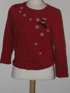 1980's Womens Tired and Ugly Discount Flawed Womens Ugly Christmas Sweatshirt