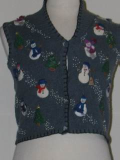 1980's Womens/Childs Tired and Ugly Discount Flawed Ugly Christmas Sweater Vest
