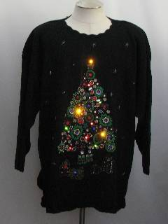 1980's Womens Oversized Slouch Fit Heavily Beaded Multi-Colored Flashing Twinkle Lights Light-up Ugly Christmas Cocktail Sweater