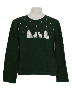 1980's Womens Mod Minimalist Ugly Christmas Sweater