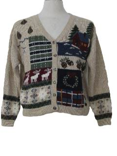 1980's Womens Country Kitsch Ugly Christmas Cardigan Sweater