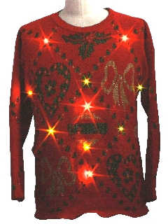 1980's Unisex Light-Up Golden Amber Lights Ugly Christmas Sweater