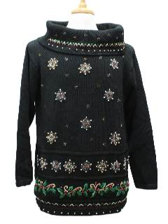 1980's Womens Ugly Christmas Oversized Slouch Fit Turtleneck Cocktail Sweater