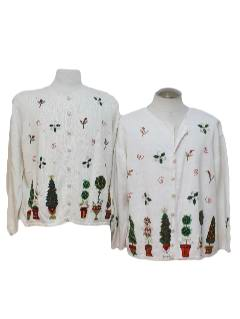 1980's Womens Matching Pair of Ugly Christmas Sweaters