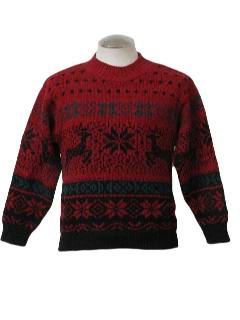 1980's Womens Ugly Christmas Traditional Reindeer Ski Sweater