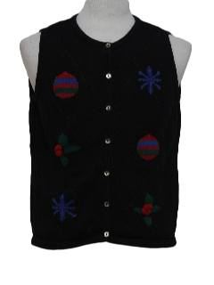 1980's Womens Minimalist Ugly Christmas Sweater Vest