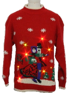 1980's Unisex Light-up  Multi-Colored Flashing Lights Ugly Christmas Sweater