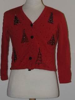 1980's Womens Petite Discount Flawed Tired and Ugly Christmas Sweater