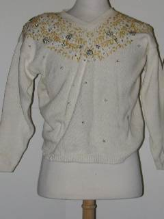 1980's Womens Discount Flawed Tired and Ugly Beaded Christmas Sweater