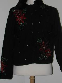 1980's Womens Discount Flawed Tired and Ugly Christmas Cocktail Sweater