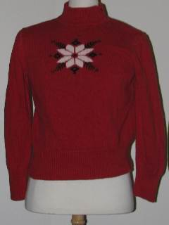 1990's Womens Discount Flawed Tired and Ugly Christmas Ski Sweater