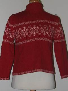 1980's Womens Discount Flawed Tired and Ugly Christmas Ski Sweater