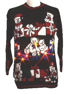 1980's Unisex Lightup Multicolored Flashing Lights Bear-Tastic Vintage Ugly Christmas Sweater
