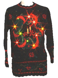 1980's Unisex Light-up Multicolored Flashing Lights Vintage Ugly Christmas Sweater
