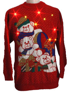 1980's Unisex Light-up Golden Amber Flashing Lights Vintage Bear-Tastic Ugly Christmas Sweater