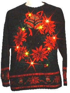 1980's Unisex Light-up Golden Amber Flashing Lights Vintage Ugly Christmas Sweater