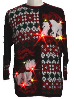 1980's Unisex Light-up Multicolored Flashing Lights Scottie Dog Ugly Christmas Sweater
