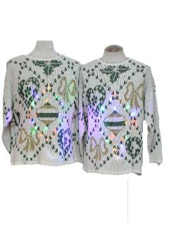 1980's Unisex Pair of Matching Light-up Multicolored Solid-Lit Super Bright Lights Ugly Christmas Sweaters