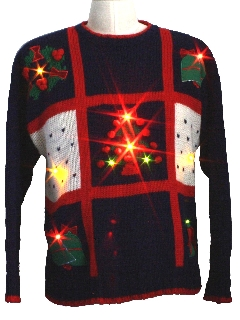 1980's Unisex Light-up Super Bright Multi-colored Solid-Lit Lights Ugly Christmas Sweater