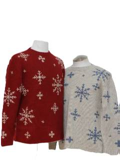 1980's Unisex Matching Pair of Ugly Christmas Ski Sweaters