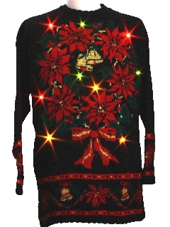 1980's Unisex Light-up Golden Amber Flashing Lights Ugly Christmas Sweater