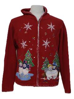 1980's Womens Hooded Ugly Christmas Sweater