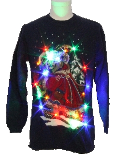 1980's Unisex Bear-riffic Lightup Multicolored Ugly Christmas Sweater