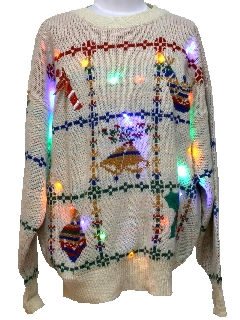 1980's Unisex Vintage Lightup Multicolored Ugly Christmas Sweater
