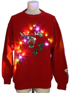 1980's Mens Multicolored Lightup Ugly Christmas Sweater