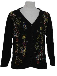 1980's Womens Ugly Christmas Beaded Cardigan Cocktail Sweater