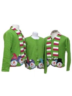 1980's Womens Matching Set of Three Ugly Christmas Sweaters