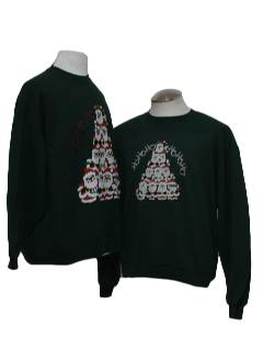1980's Unisex Pair of Matching Ugly Christmas Sweatshirts
