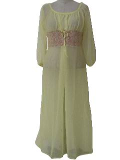 1970's Womens Lingerie Night Maxi Dress