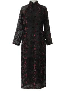 1980's Womens Cheongsam Maxi Dress