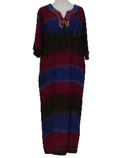 1990's Womens Hippie Ethnic Caftan Dress