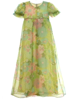 1960's Womens/Girls Hawaiian Style Cocktail Maxi Dress