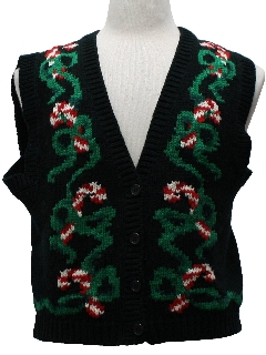 1980's Womens Totally 80s Style Ugly Christmas Sweater Vest